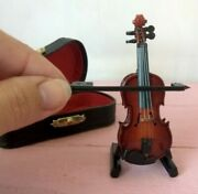 Miniature Violin Guitar Dollhouse Fiddle Orchestra Music Instrument Strings Bow