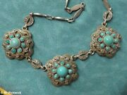 Maker Theodore Fahner Turquoise And Marcasite Silver Necklace 1940s German