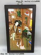 Chinese Wooden Inlaid Porcelain Figures Ladies Girl Oriental Woman Female Screen