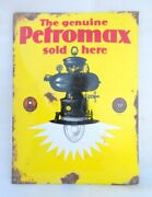 Antique Old Rare Petromax Lantern Sold Here Porcelain Enamel Sign Board Germany