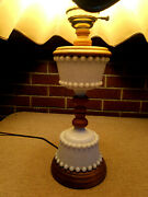 Vintage Milk Glass And Wooden Hurrican Lamp With Original Shade