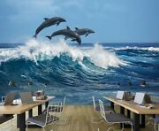 3d Dolphin Surf A37 Business Wallpaper Wall Mural Self-adhesive Commerce Zoe