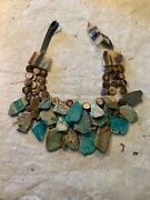 Chunky Designer Statement Necklace Turquoise Imperial Jasper Wood Clay Leather