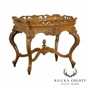 Renaissance Revival Antique Carved Walnut Tray Top Coffee Table
