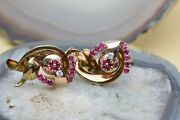 14k Yellow And Pink Gold Ruby And Diamond Ear Clips Circa 1940and039s