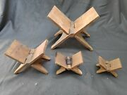 Antique Old Gita,quran,bible Holy Book Keeping Wooden Folding Set Of 4 Stand