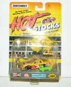 03matchbox Hot Stocks, Race Car With Accessories, Yellow Racer, 3 Race Graphics