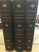 Shakespeare Complete 3 Volume Leather Book Set-1888 Bryant's 100 Bandw Plates