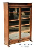 19th C Antique Victorian Double Door Oak Bookcase / China Cabinet