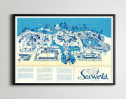 1964 Sea World San Diego Opening Year Map Poster Up To Full-size 24 X 36