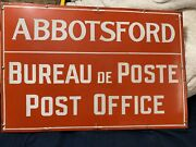 """Vintage Early Abbotsford, Canada Bc Porcelain Post Office Sign 29.75"""" X 20"""""""
