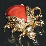 1900and039s Antique 14k Yellow Gold Salmon Coral Beetle Pin Brooch Handmade 3.6gr