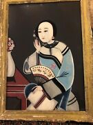 Antique Chinese Export Reverse Glass Painting Lady With A Fan Late 19th Century