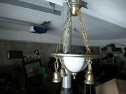 Antique 20and039s Art Deco Ceiling 4 Hanging 2 In Dome Light Chandelier