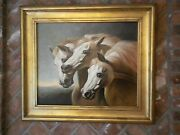 Arabian Horses Painting By Listed Artist P English Fantastic Frame Too