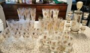 Incredible 51 Pc. Vintage Libbey Gold Leaf Barware Collection Buy It Now