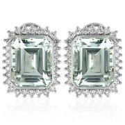 Russian Style Genuine Diamond And Aquamarine Earrings In Solid 14k White Gold