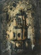 Vintage Unsigned Oil On Board Of A Gothic Looking Church Steeple In Oak Frame