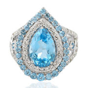 Solid 18k White Gold Pear Shape Topaz Diamond Cocktail Ring Jewelry Wedding Gift
