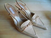 Nude Tan 6m Sling Back 2 5/8 Inch Heels Bow Front Point Toe