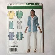 Simplicity 2448 Size 6-14 Misses Tunic With Neckline Sleeve And Trim Variations