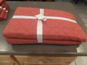 New 5pc Pottery Barn Belgian Diamond Linen King Quilt And Shams Brick Red