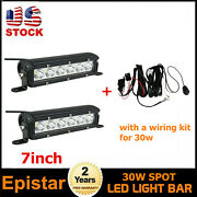 Wiring +2x 30w 7inch Single Row Led Light Bar Spot Offroad Rzr Chevy Tractor Car