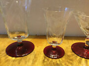 Vintage/antique Ruby Red And Clear Etched Set Of 18 Glasses