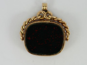 Agate Bloodstone Fob 9ct Rose Gold Vintage Pocket Watch Albert Chain 7.8g Eo61
