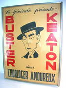 Original Antique French Buster Keaton Movie Poster The Horolocer In Love