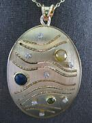 Large 2.21ct Diamond And Aaa Multi Color Sapphire 14kt Yellow Gold 3d Fun Pendant