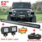 Curved 52inch 3800w Led Light Bar +4 18w Work Pods + Wring Offroad Suv 4wd Atv