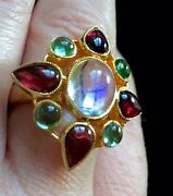 Fine Blue Moonstone Green Tourmalines 14k Arts And Crafts Style Ring