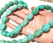 Huge Antique/vintage Chinese Turquoise Beads Carved Necklace