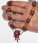 Ruby Paste Georgian To Victorian Pink Paste Sterling Silver Gold Gilt Necklace
