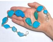 Big Cabs Natural Blue Turquoise Native American Sterling Silver Necklace