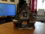 2001 Santa's Workbench Antiques In Time Two Lights Lighted Porcelain House