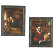 Antique Portraits Paintings Theodore Du Bois French 1800s Two Scholars
