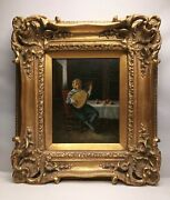 Original Oil Painting Signed Tom Morris Monkey Playing An Instrument