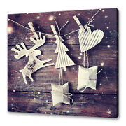 Christmas Decoration Reindeer Heart Tree On Wood Canvas Print Wall Art Picture