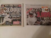 Derek Jeter 3000 Hits Daily News And N.y. Post 4 Newspapers - Free Shipping