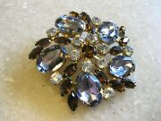 Exceptionally Pretty Pin Brooch W/ Acrylic Stones In Smoke Root Beer Clear