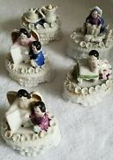 Collection Of 5 Antique Victorian Small Trinket Dresser Boxes