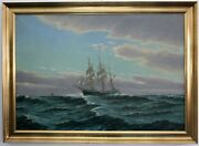 Tall Ships Before Achterlichem Wind 1. Half 20. Jh Signed O.palmer Oil On