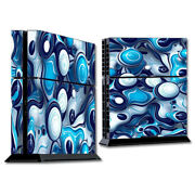 Ps4 Playstation Console Skins Decals Wrap - Mixed Blue Bubbles Glass