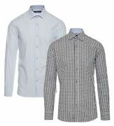 Mens Tailored Fit Check Cotton Button Shirt Smart Casual Formal Retro Vintage
