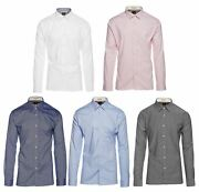 Mens Tailored Fit Stretch Cotton Button Shirt Smart Casual Formal Peaky Blinders
