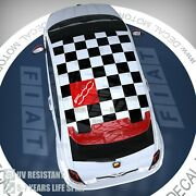 Fits Fiat 500 Abarth Vinyl 3m Roof Decal Checkered Flag Panel Sticker Ft-012b