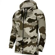 Nike Dry Camo Graphic Full-zip Hoodie Outdoor Dri-fit Apparel Olive Bv2718-072