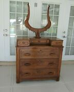 Antique Oak Highboy Carved Tall Chest Three Large Drawer And Three Small Drawer